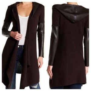 Blank NYC Black Faux Leather Long Hooded Cardigan